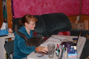 Editing with my trusty helper, Smokey